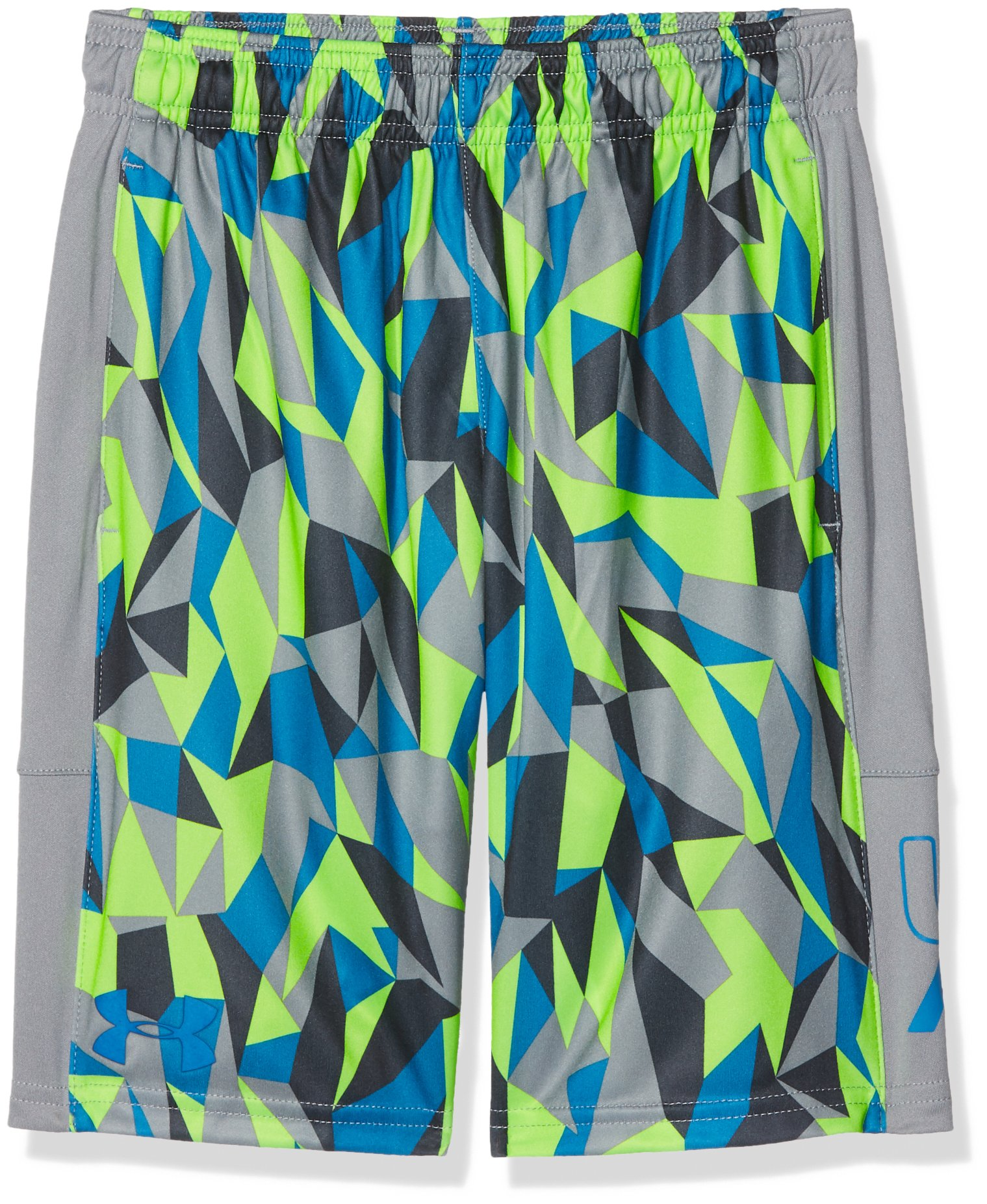Under Armour Boys' Instinct Printed Shorts,  Quirky Lime /Cruise Blue Youth X-Small