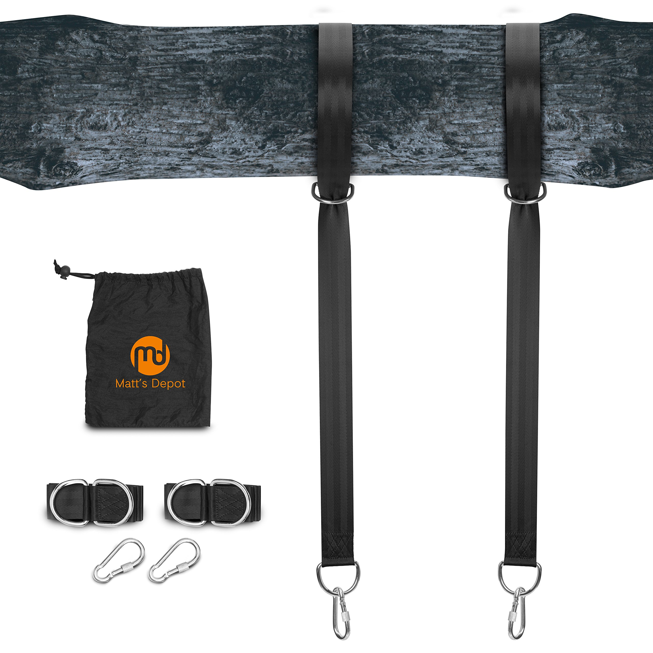 Matt's Depot Tree Swing Hanging Kit Straps - Set of 2 5ft Long Straps with 2 Safe Lock Carabiners - Extra Strong Hold 2000lbs - Easy Installation for Swings and Hammocks