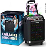 Karaoke Machine for Adults and Kids, Bluetooth Portable Singing PA Speaker System + 2 Wireless Dual Microphones + LED & Disco Lights + TV and Aux cable. Best Christmas & Birthday Gift for Boys & Girls