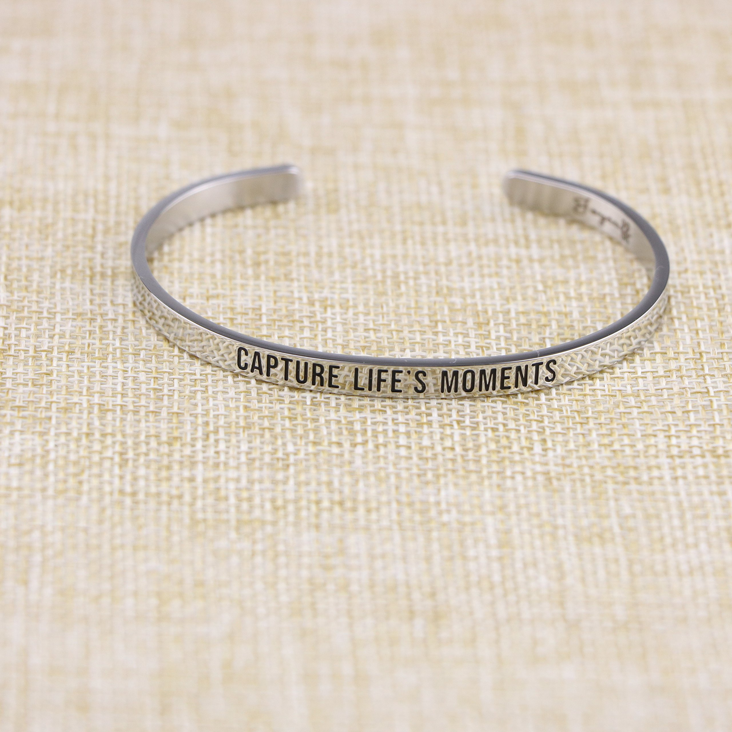 Joycuff New Mom Gift Mantra Cuff Bracelets Photographer Travel Jewelry Capture life's moments by Joycuff (Image #4)
