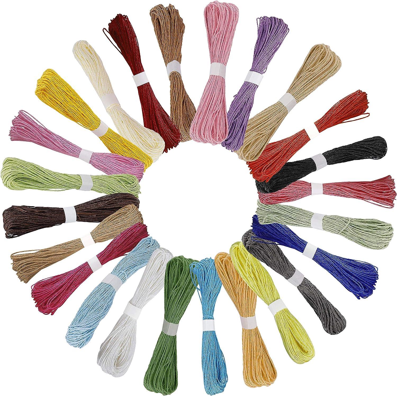 Cuerda de Papel de Color Multicolor Cuerda de Papel Artesanal de Usos Múltiples Jardín de Infantes Material de Bricolaje Cuerda de Papel 30 Meters/Rollo 24 Piezas (24 Colores)