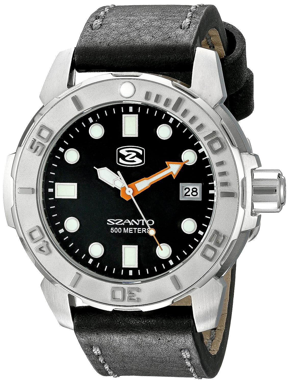 Szanto SZ5101 Herren schwarz Lederband schwarz Dial 5101 Serie Analog Watch