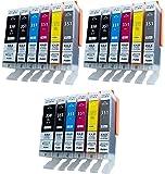 ZAZ [3セット18個] BCI-351XL+350XL/6MP 互換インク (350XLは顔料ハイグレードタイプ)6色×3セット Canon 互換 インク タンク ICチップ付き(残量表示可能) (大容量) [ZAZブランドオリジナル] FFPパッケージ(J3)