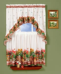 Achim Home Furnishings, 57, Multi Country Garden Swag and Tier Kitchen Curtain Set, 24-Inch, Inch Inch