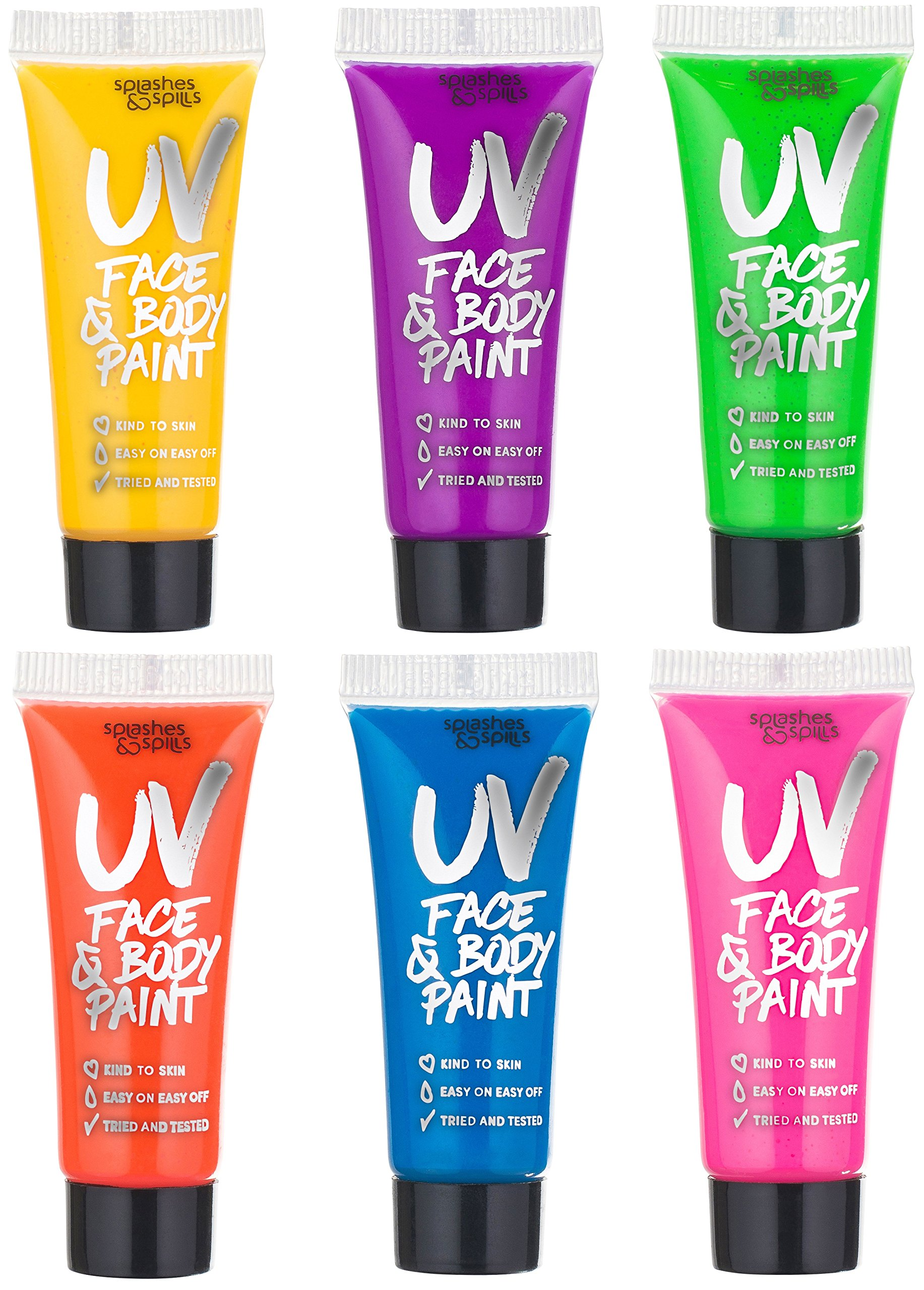 UV Glow Blacklight Face and Body Paint - 6 Color Variety Pack - 10ml – Day or Night Stage, Clubbing or Costume Makeup by Splashes & Spills by Splashes & Spills