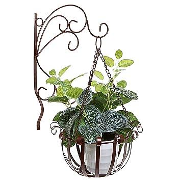 Brown Indoor Outdoor Garden Metal Flower Planter Hanging Basket W/ Wall  Mounted Scrollwork Design Hooks