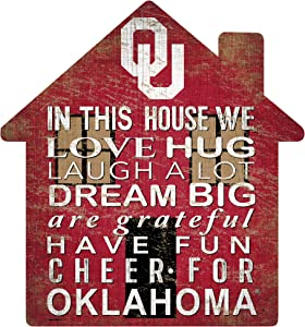 Fan Creations NCAA Oklahoma Sooners Unisex University of Oklahoma House Sign, Team Color, 12 inch