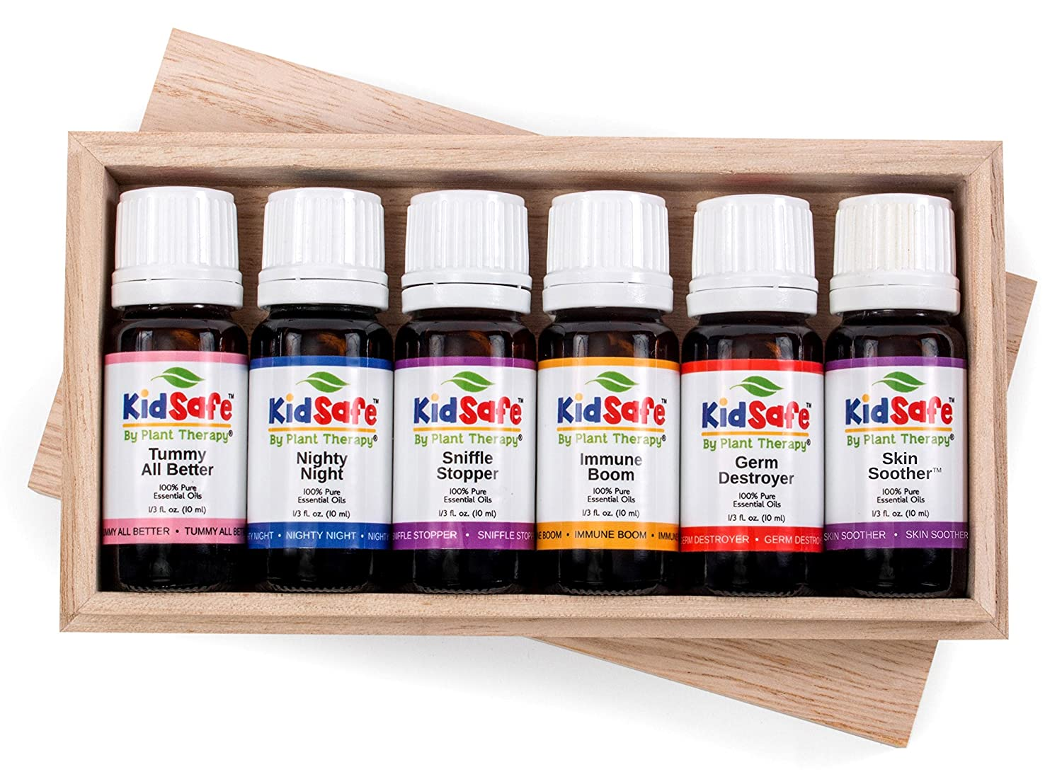 Plant Therapy KidSafe Wellness Set. 100% Pure, Undiluted, Therapeutic Grade. Includes: Tummy All Better, Nighty Night, Sniffle Stopper, Immune Boom, Germ Destroyer, Skin Soother. 10 ml (1/3 oz) each. Plant Therapy Inc