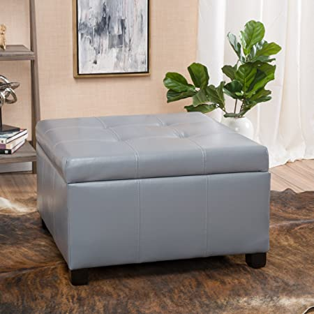 Christopher Knight Home 296840 Living Richmond Light Grey Storage Ottoman,