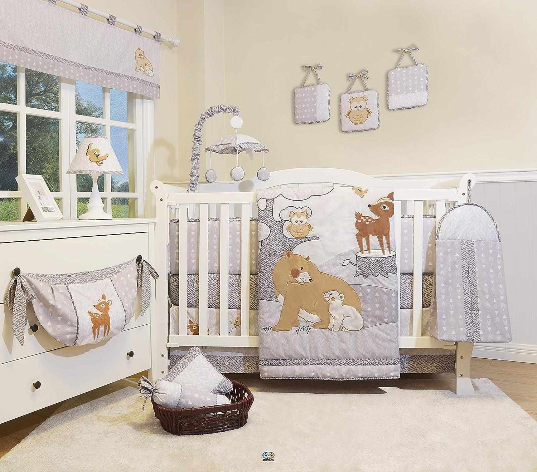 GEENNY 13 Pieces Enchanted Forest Woodland Baby Nursery Crib Bedding Set