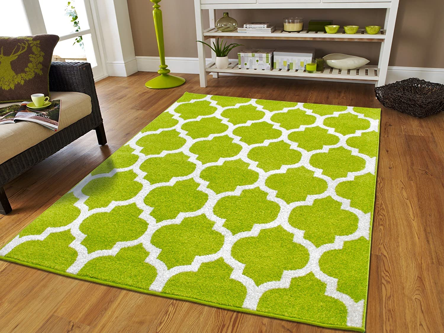 New Fashion Luxury Morrocan Trellis Rugs Green And White With Lines For Dining Room 8x10 Soft Bedrooms Large Living Cheap