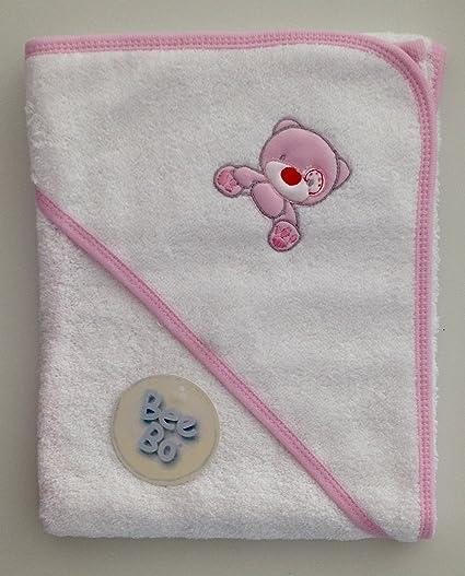 Toalla con capucha de salida de baño blanco para bebe bordado oso con rosa