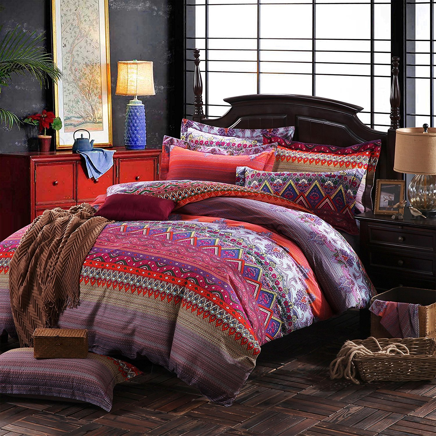 FADFAY Colorful Bohemian Ethnic Style Bedding Boho Duvet Cover Bohemian Sheet Sets Baroque Style Bedding 4 Pcs (Twin XL, Flat Sheet) by FADFAY (Image #1)