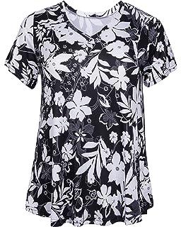 f91c2cd899cb19 ZERDOCEAN Women's Plus Size Printed Stretchy Short Sleeve V Neck Swing T  Shirt