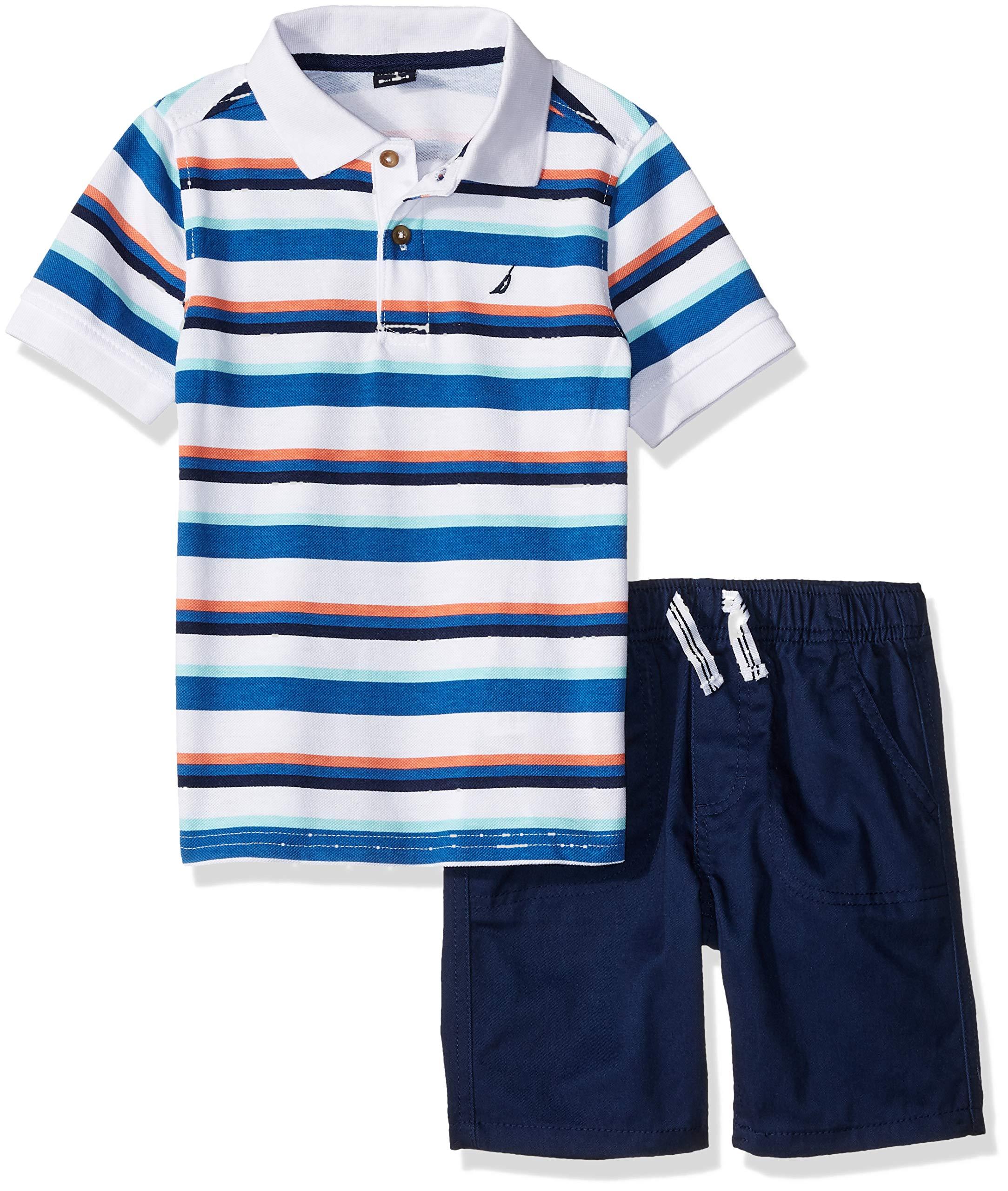 Nautica Sets (KHQ) Boys' Little' 2 Pieces Polo Shorts Set Stripes/Navy 6