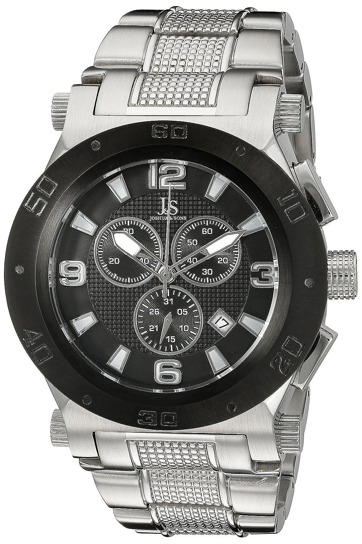 Joshua & Sons Men 's jx104ssbラウンドブラックダイヤルクロノグラフクオーツステンレススチールブレスレット腕時計 B0145FVO5A