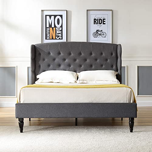 Brighton Upholstered Platform Bed Headboard and Wood Frame