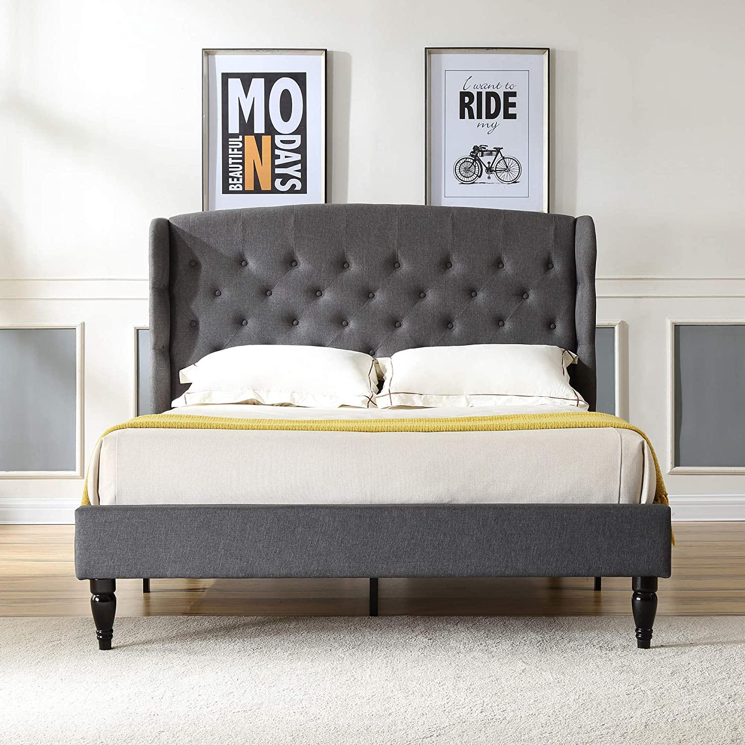 Brighton Upholstered Platform Bed Headboard and Wood Frame with Wood Slat Support Grey, King
