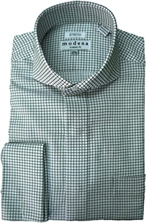 Modena Mens Checked Cutaway Collar French Cuff Dress Shirt