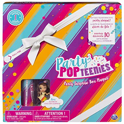 Party Popteenies - Rainbow Unicorn Party Surprise Box Playset with Confetti, Exclusive Collectible Mini Doll and Accessories, for Ages 4 and Up (Packaging may vary): Toys & Games