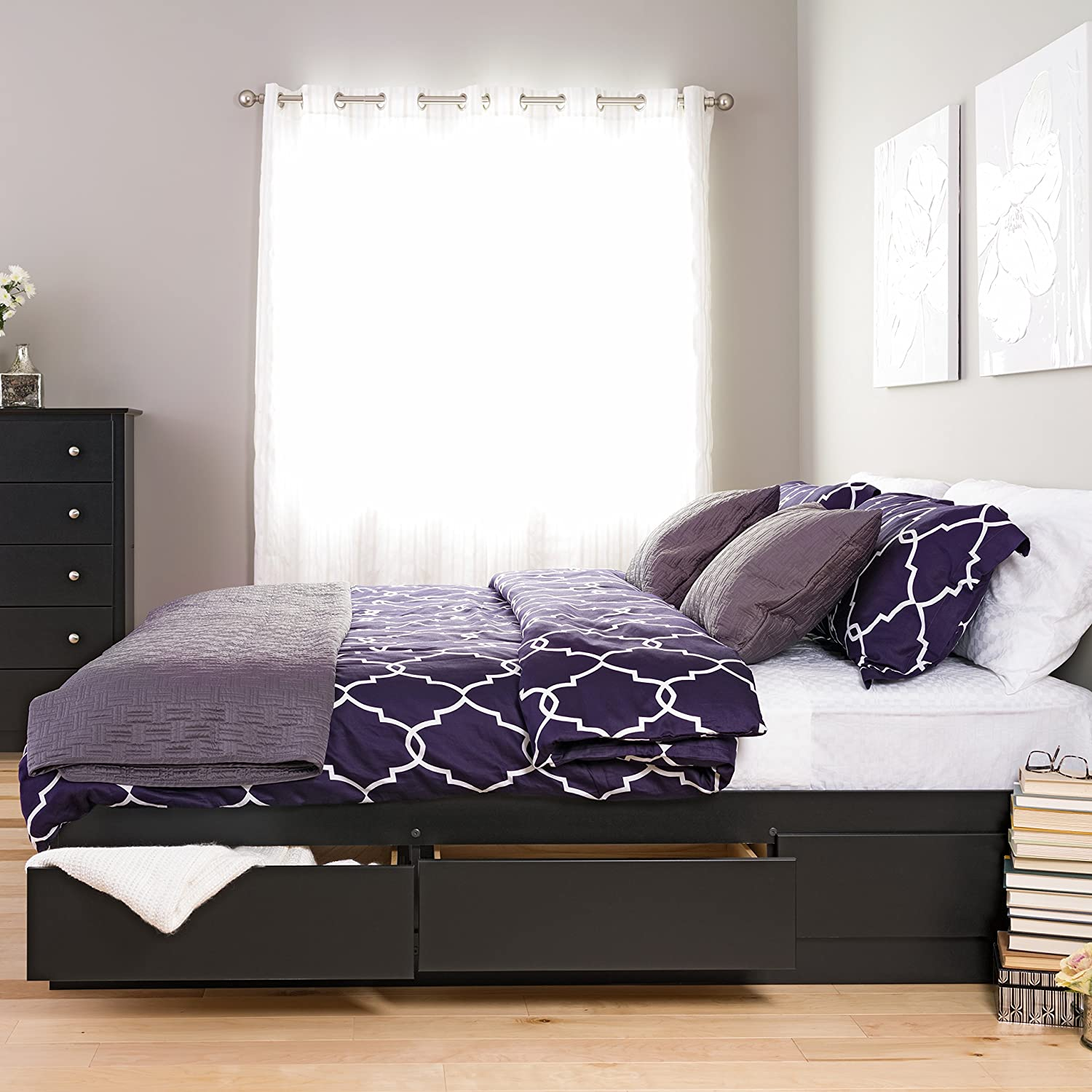 Details About King Size Bedframe Platform Bedroom Furniture Storage Bed 6 Drawers Wood Black