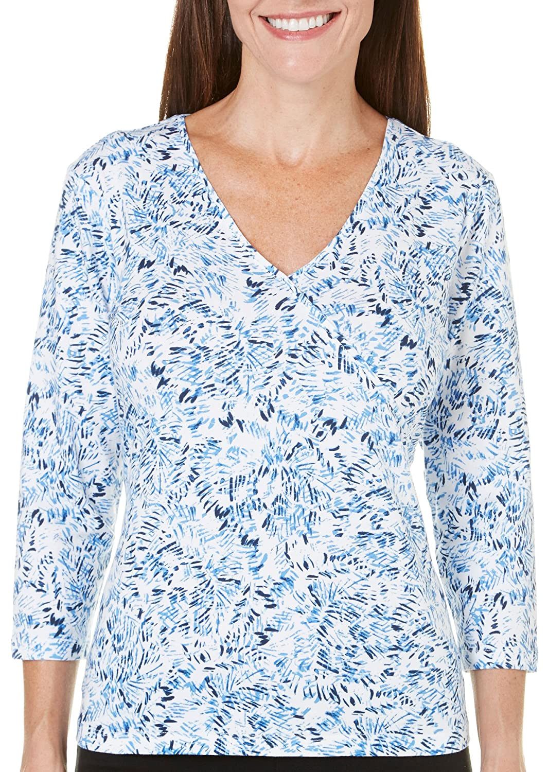 Hearts of Palm Petite Blue Belle Abstract Dot Top