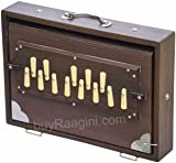 Shruti Box Instrument, Maharaja Musicals, Small, 13 x 9.5 x 3 Inches, Blemished, With Bag, Walnut Color, 13 Notes, Sur Peti Surpeti, Indian Musical Instrument