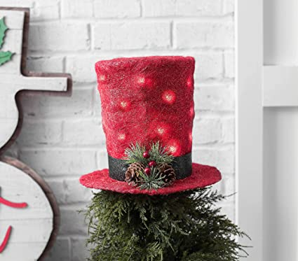 eceea6abd3589c Image Unavailable. Image not available for. Color: hm Unique Christmas Tree  Topper Lighted Top Hat Rattan Deer Head Red ...
