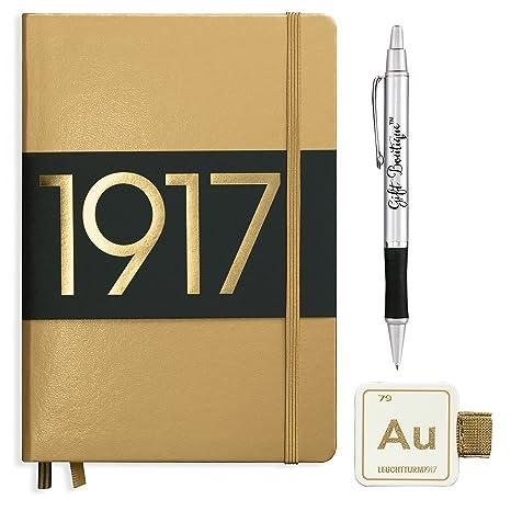 Leuchtturm1917 Medium Size A5 Hardcover Metallic Notebook With  Leuchtturm1917 Self Adhesive Pen Loop And Gift
