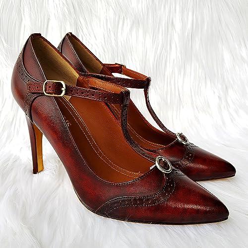 f92569944 Amazon.com: T-strap high heels 10cm DECUS Handmade craft shoes for beautiful  women (Color Dark Brown): Handmade