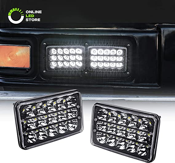 2pc 4x6 LED Headlights [45W] [H4 Socket] [Black-Finish] [High/Low Sealed Beam] H4652 H4666 H6545 H6054 H4651 H4656 4x6 LED Headlight for Peterbilt Kenworth Trucks Ford Van & More