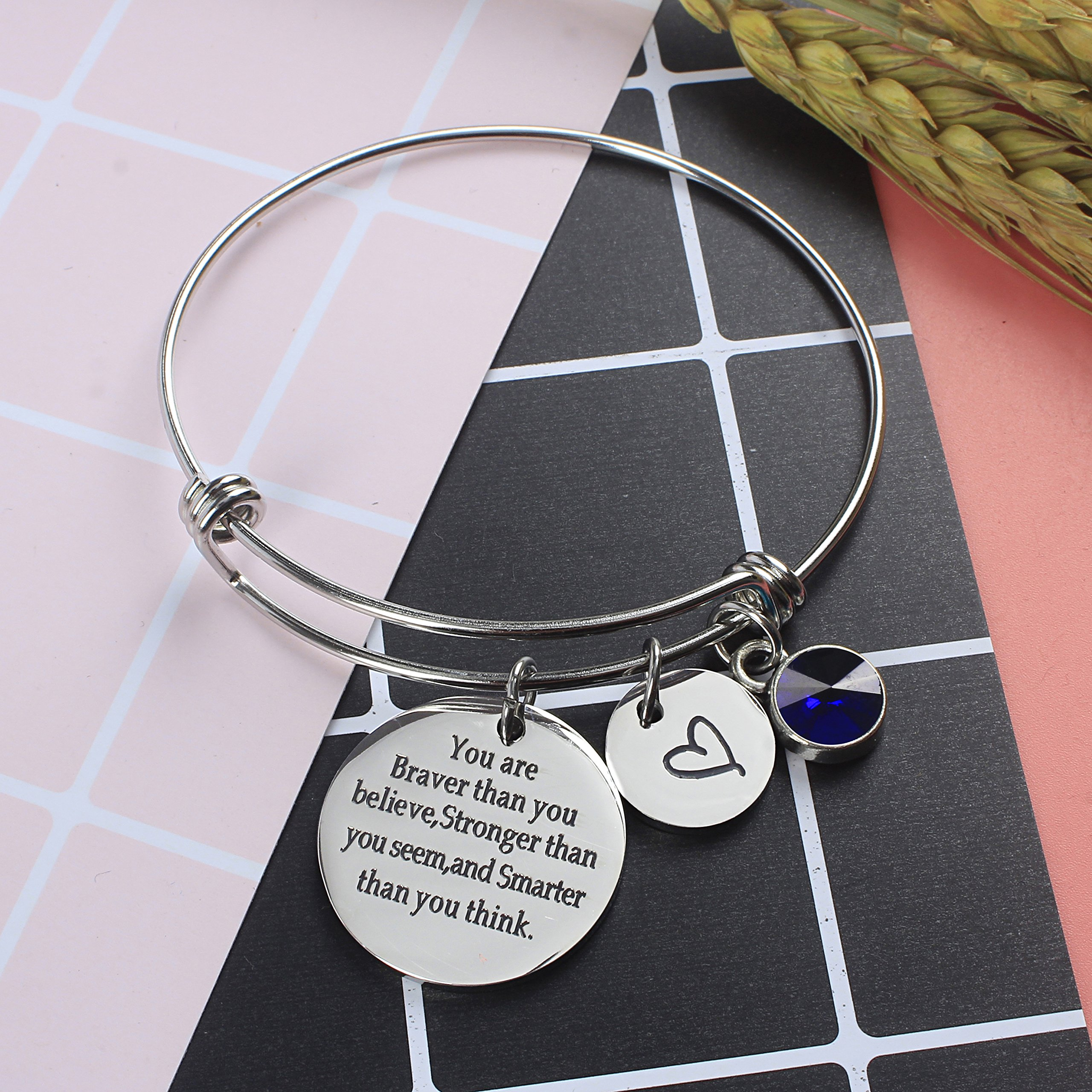 Angel's Draw Home You Are Braver than You Believe Adjustable Bangle Bracelets With 12 Months Color Birthstone for Women Girls Gift (Sapphire- September) by Angel's Draw Home (Image #5)