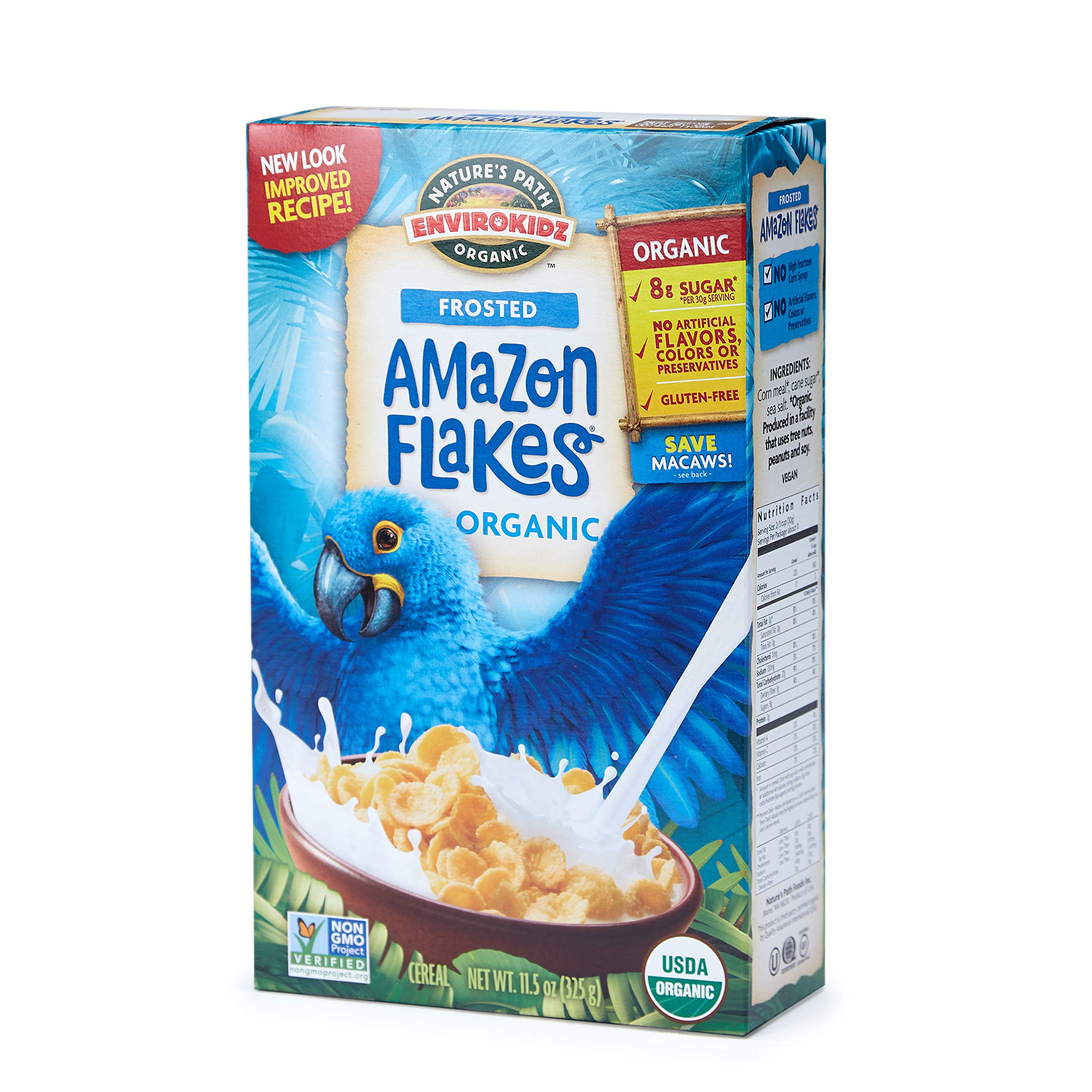Nature's Path EnviroKidz Amazon Frosted Flakes Cereal, Healthy, Organic, Gluten-Free, 11.5 Ounce Box (Pack of 6) by EnviroKidz