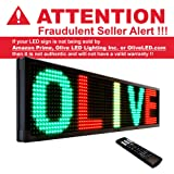 """Olive LED Signs FBA 3 Color P30 22"""" x 60"""" (RGY)Red Green Yellow - Storefront Message Board, Programmable Scrolling Display - Industrial Grade Business Tools"""