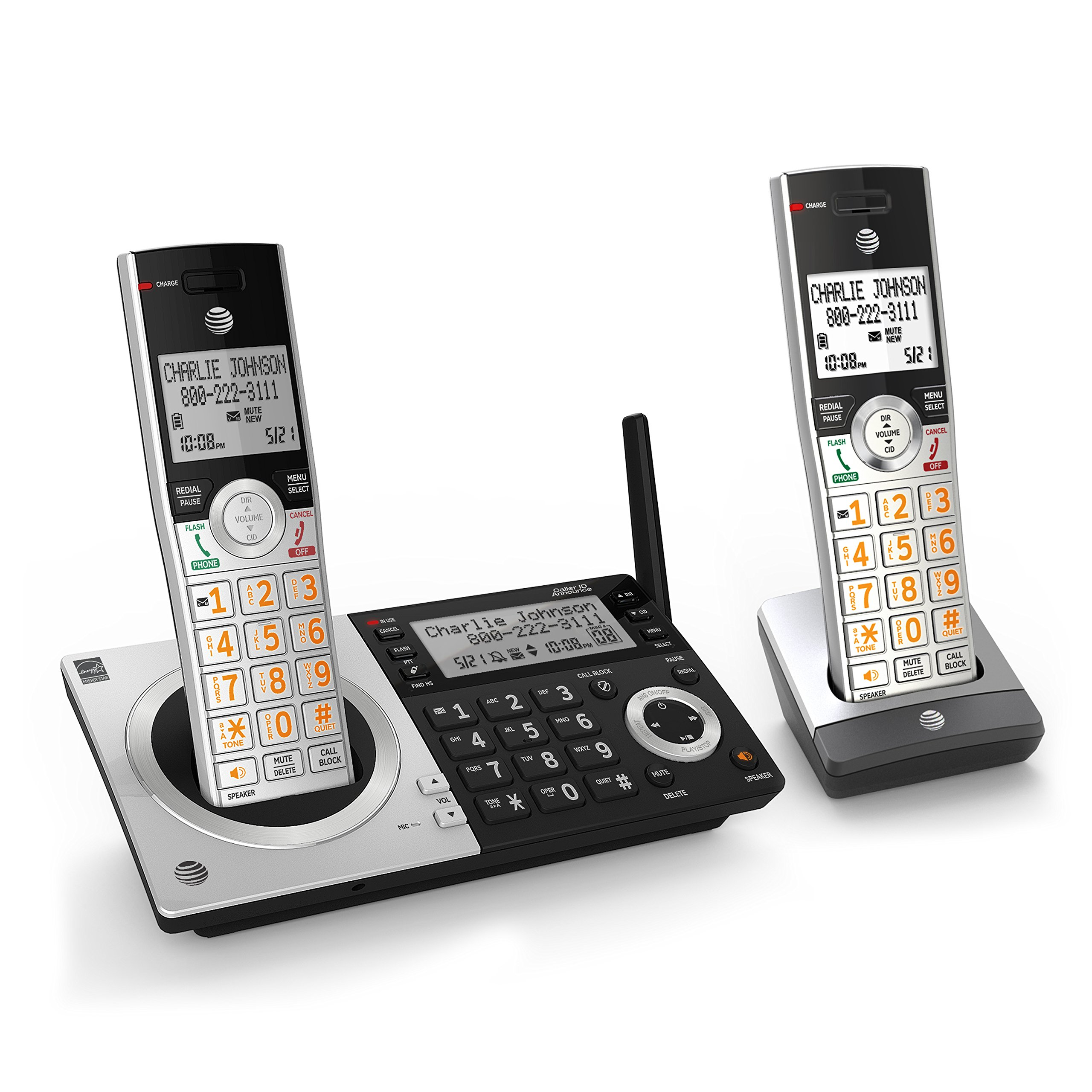 AT&T CL83207 DECT 6.0 Expandable Cordless Phone with Smart Call Blocker, Silver/Black with 2 Handsets by AT&T