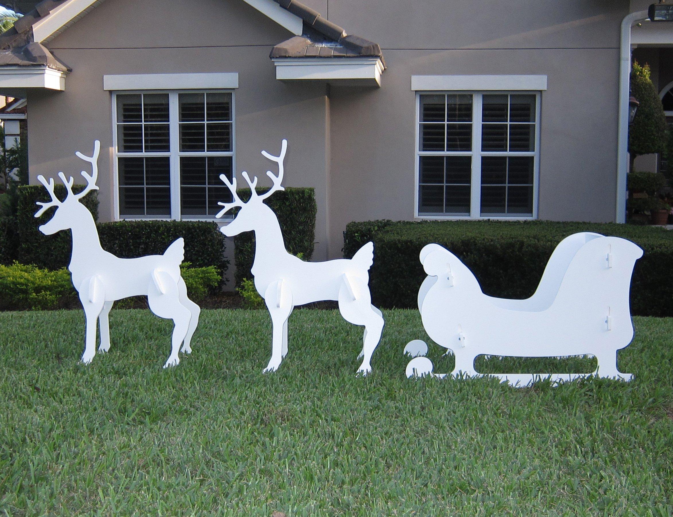 Christmas Outdoor Santa Sleigh and 2 Reindeer Set by Teak Isle (Image #2)