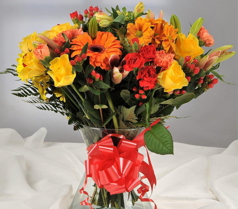 Autumnal Orange Yellow Fresh Flower Bouquet With Handwritten Card