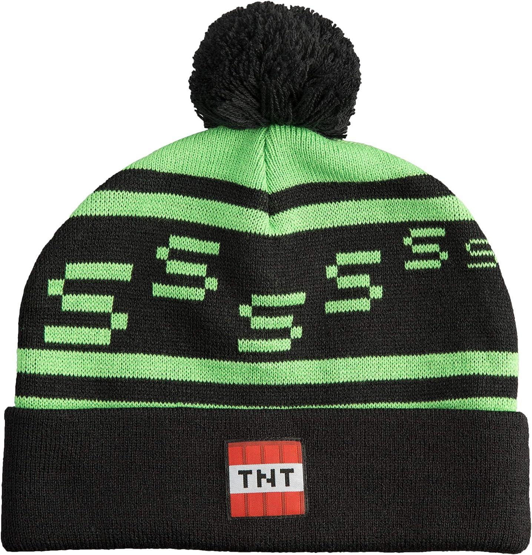 JINX Minecraft Creeper TNT Knit Pom Knit Beanie, Green/Black, One Size: Clothing