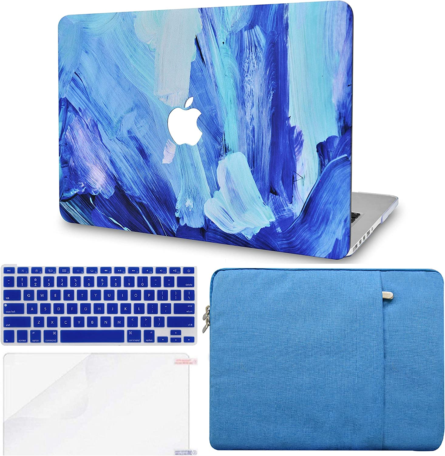 "LuvCase 4in1 Laptop Case for MacBook Pro 13""(2020) with Touch Bar A2251/A2289 Hard Shell Cover, Sleeve, Keyboard Cover & Screen Protector (Oil Paint 5)"