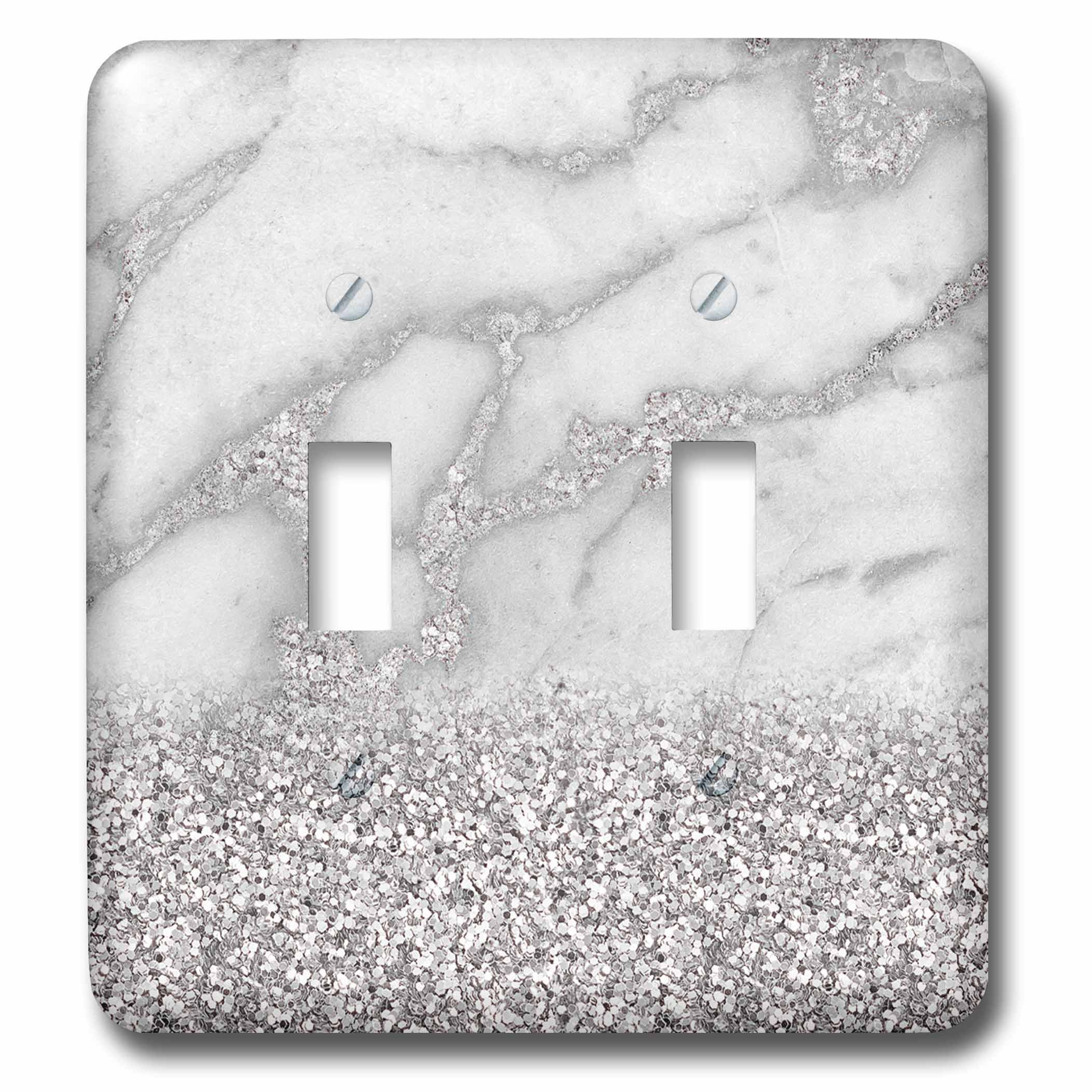 3dRose (lsp_268850_2) Double Toggle Switch (2) Luxury Grey Silver Gem Stone Marble Glitter Metallic Faux Print