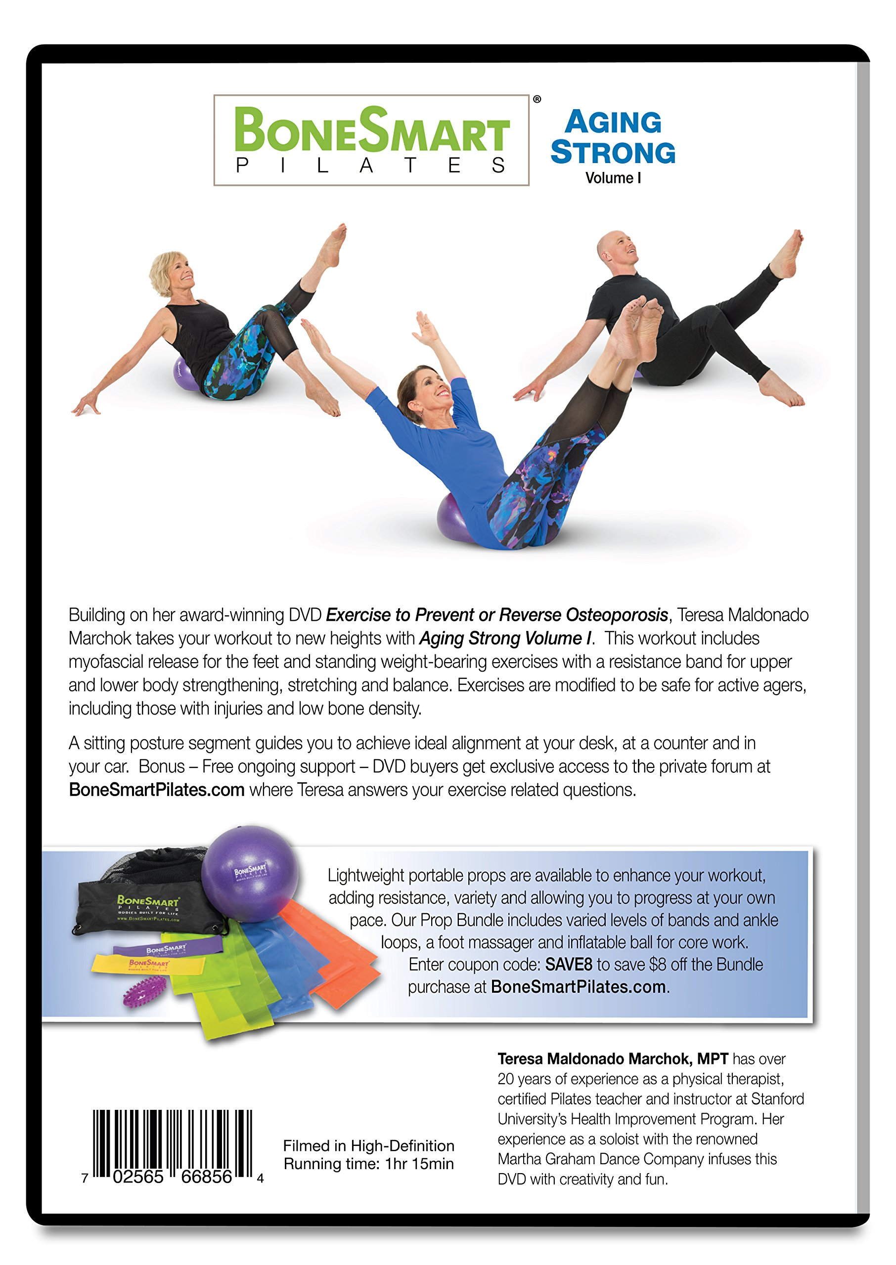BoneSmart Pilates AGING STRONG DVD Vol I with Enhanced Props Bundle - Newly Released! - Exercise to Build Bone, Avoid Injury, Age Strong by BoneSmart Pilates