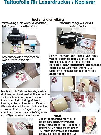 Tattoo Transferfolien Bodystyle Fur Laserdrucker Farblaserdruck