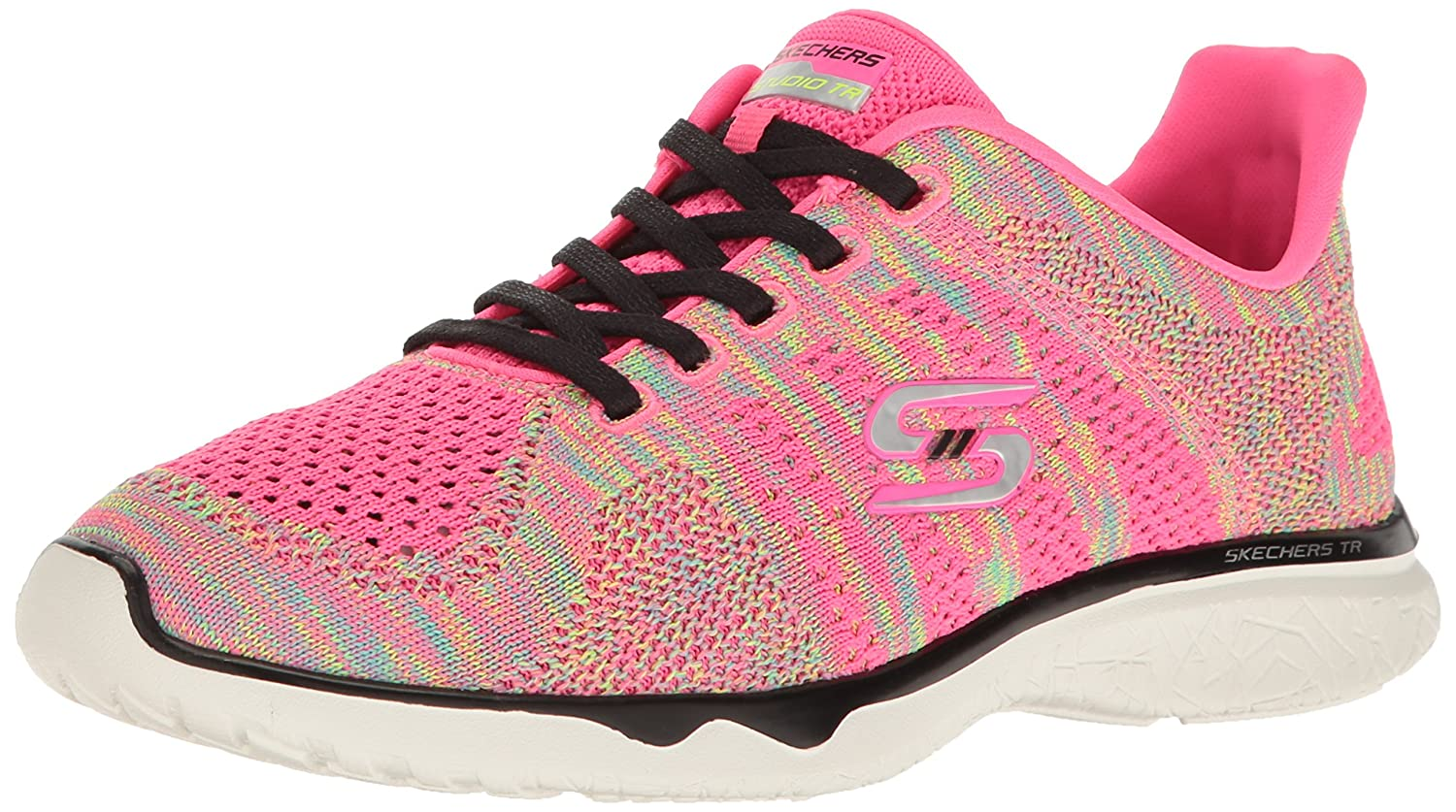 Skechers Sport Women's Studio Burst Virtual Reality Fashion Sneaker B01K4I4RR4 9.5 B(M) US|Neon Pink/Black