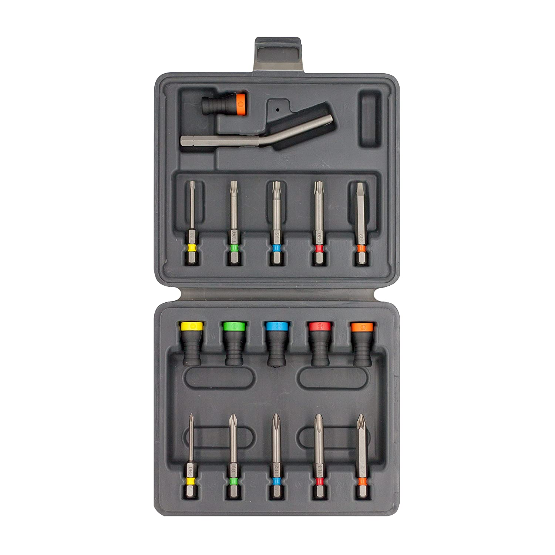 SET 17 MAGNET DRIVER® , el set má s completo que contiene 6 magnetdrivers, 10 puntas, y un sujeta clavos, todos ellos en una resistente caja plá stica. el set más completo que contiene 6 magnetdrivers Micaton SET 17 MAGNET DRIVER®