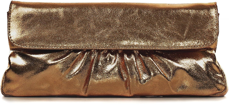 Leder Clutch mit Metallic-Optik von 'CNTMP' Metallicleder Damen Leder Handtaschen, Clutch, Clutches, Clutchbags, Unterarmtaschen, Partybags, Trend-Bags, Metallic, Leder Tasche, 31x15x2,5cm (B x H x T) Farbe:Anthrazit 3525