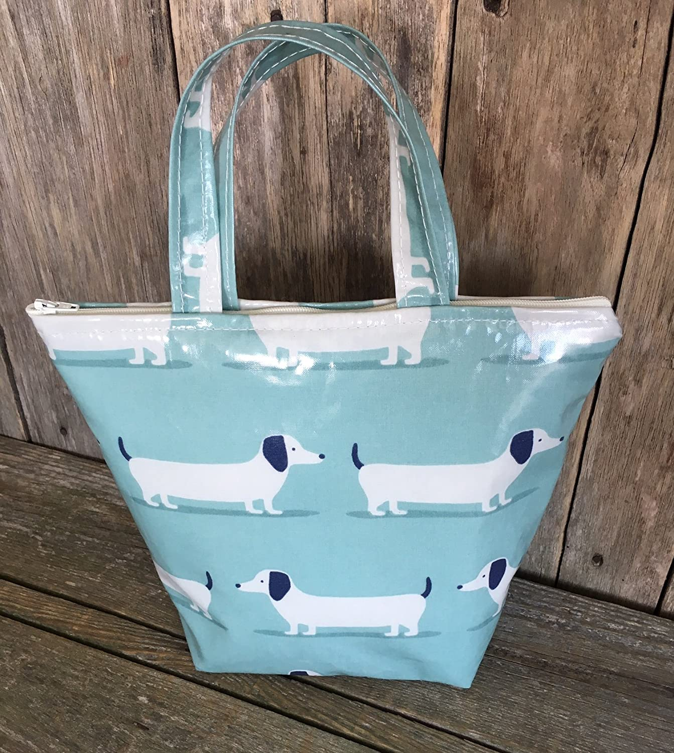 Insulated Lunch Bag, school Bag, lunch Tote, cool Bag, picnic Bags, duckegg blue dachshund Oilcloth