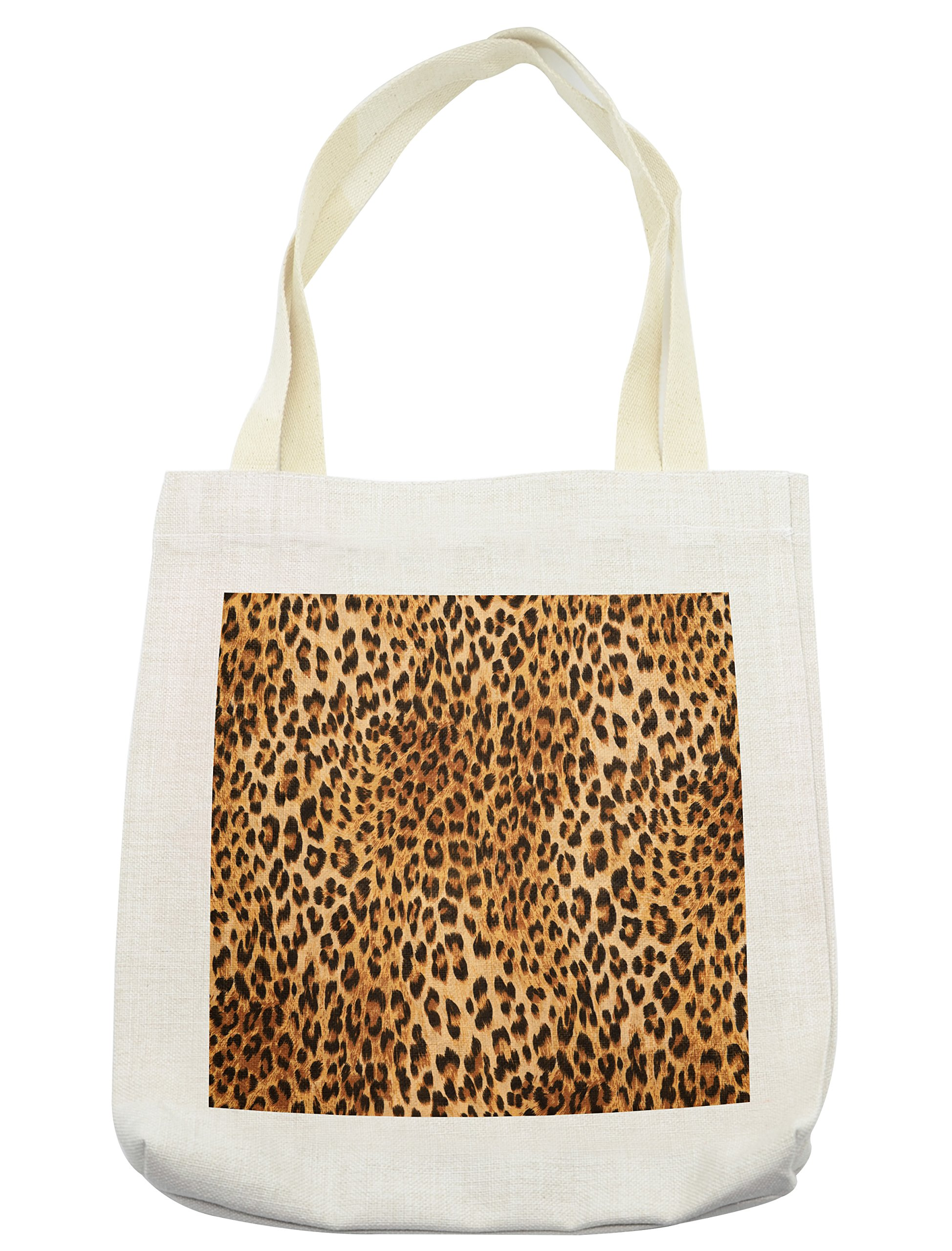 Lunarable Animal Print Tote Bag, Wild Animal Leopard Skin Pattern Wildlife Nature Inspired Modern Illustration, Cloth Linen Reusable Bag for Shopping Groceries Books Beach Travel & More, Cream by Lunarable