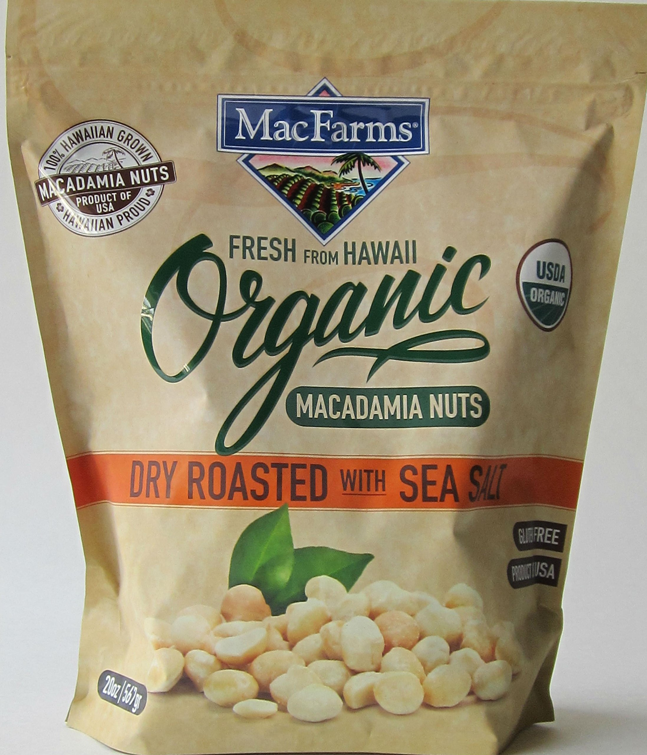 MacFarms Organic Dry Roasted Macadamia Nuts with Sea Salt  20oz Bag