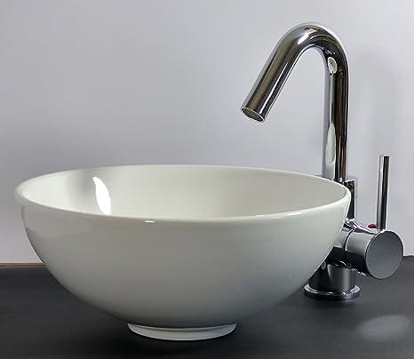 Lavandino Piccolo Per Bagno.Piccolo Lavabo Da Appoggio Rotondo In Ceramica 28 Cm Bagno Per Gli