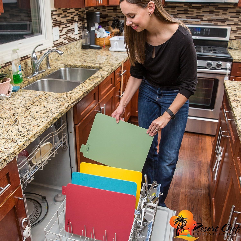 Juego de 4 con /Íconos de /Índices de Alimentos Incluye pelador de cer/ámica Lo mejor para la seguridad alimentaria Compatible con LFGB Reversible /& Eco Friendly grande Tablas de cortar de cocina